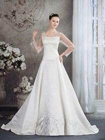 wedding photo - Three Quarter Sleeves Tulle And Satin Wedding Dress With Beads