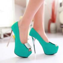 wedding photo - Rhinestone Women Platform Pumps High Heels Peep Toes Stiletto Wedding Shoes Woman