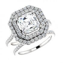wedding photo - 6.5mm (1.25 ct)Asscher Forever One Moissanite & (0.91 ct) Diamond Bridal Set, Wedding Sets for Women, Moissanite Engagement Rings For Sale