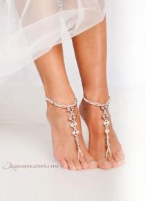 wedding photo - Vintage Pink Beaded Barefoot sandals Bridal foot jewelry Beach wedding Barefoot Sandals Bridal barefoot sandal Wedding accessory Stretch