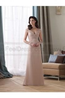 wedding photo - Sheath/Column Floor-length V-neck Chiffon Champagne Mother of the Bride Dress