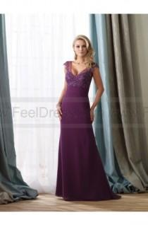 wedding photo - Sheath/Column Floor-length V-neck Chiffon Purple Mother of the Bride Dress