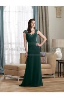 wedding photo - Sheath/Column Floor-length V-neck Chiffon Darkgreen Mother of the Bride Dress