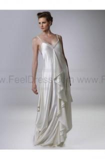 wedding photo - A-line V-neck Silver Beading Elastic Woven Satin Sleeveless Floor-length Mother of the Bride Dress