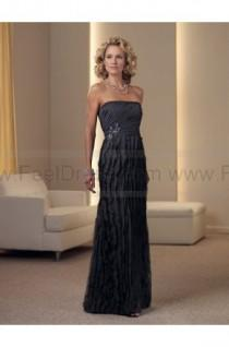 wedding photo - Sheath/Column Floor-length Strapless Chiffon Black Mother of the Bride Dress