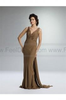 wedding photo - Sheath/Column V-neck Brown Ruffles Chiffon Sleeveless Floor-length Mother of the Bride Dress