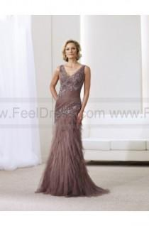 wedding photo - Trumpet/Mermaid Floor-length V-neck Tulle Brown Mother of the Bride Dress
