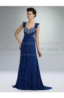 wedding photo - A-line Straps Midnight Embroidery Chiffon Sleeveless Floor-length Mother of the Bride Dress