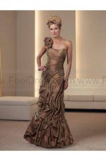wedding photo - Trumpet/Mermaid Floor-length One Shoulder Taffeta Brown Mother of the Bride Dress