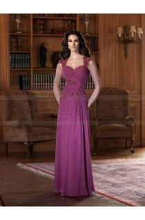 wedding photo - A-line Floor-length Sweetheart Chiffon Burgundy Mother of the Bride Dress