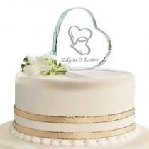wedding photo - Personalized Two Hearts Cake Topper