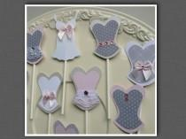 wedding photo - Bachelorette party sexy cupcake toppers corset lingerie lips and high heel MIX and MATCH gray grey white light pink colors
