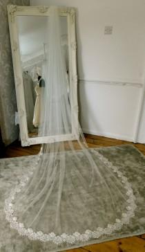 wedding photo - Lace edged Chapel length veil. Lace and tulle long wedding veil.