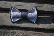 wedding photo - grey bow tie embroidered taupe bowtie groomsman gray tie men's tie man necktie groom gift for brother gift birthday wedding best man vyriski