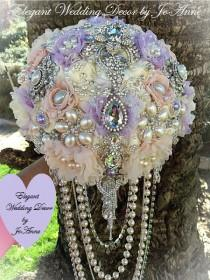 wedding photo - Rustic Glam Jeweled Bouquet, DEPOSIT ONLY, Cascading Pearl Brides Brooch Wedding Bouquet, Ivory and Lavender Bouquet, Brooch Bouquet