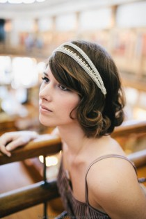 wedding photo - Empire bridal Headpiece -  Grecian champagne braid trim japanese beads 18k chain - 20s headband MADE TO MEASURE - 1920s  flapper