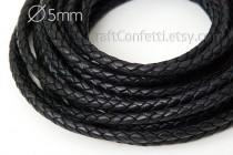wedding photo - Black braided cord 5mm Black leather cord Natural leather cord Indian leather cord Jewelry supplies Jewelry cord Genuine leather round cord