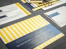 wedding photo - Nautical Wedding Invitation, Navy Blue and Yellow, Beach Invitations, Striped Invitations, Preppy Chic - Flat Panel, No Layers, v3 - DEPOSIT