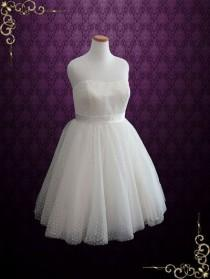 wedding photo - Plus Size Retro Tea Length Wedding Dress With Polka Dot Tulle