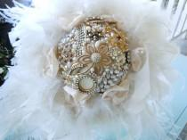 wedding photo - Broach Bouquet - Brooch Bouquet - Bridal Brooch Bouquet - Wedding Brooch Bouquet - Feathered Brooch Bouquet