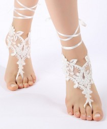 wedding photo - Free Ship Beach wedding barefoot sandals Beach shoes, bridal sandals, lace sandals, wedding bridal, ivory accessories, summer wear