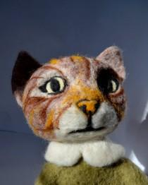"wedding photo - Cat with stripes, 20"" , Art Dolls, Interior doll , Gift For Her, Gift For Him , Needle felted cat, felted animal, felted cat.READY TO SHIP"