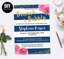 wedding photo - Stripe Brunch and bubbly bridal shower invitation
