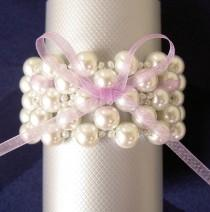 wedding photo - Wedding Napkin Rings - Pearls Napkin Rings - Beaded Napkin Rings - Wedding Table Decoration   - Set of 6