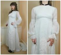 wedding photo - 60s 70s Vintage Bride Daisy Puff Sleeve Sheer Hippie Boho Maxi Balloon Sleeve Daisy Wedding Dress XS