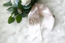 wedding photo - Custom Monogram Bouquet Ribbon - Bridal Bouquet Monogram, Bridesmaid Bouquet Monogram