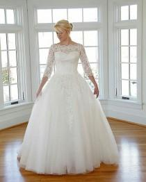 wedding photo - Belted Empire Waist Plus Size Wedding Dress W/ Soutage Lace & Pearls