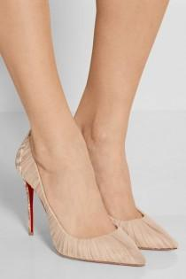 wedding photo - Christian Louboutin - Follie Draperia 100  Chiffon And Printed Faille Pumps