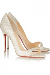 wedding photo - Christian Louboutin - Toboggan 100 Glittered Leather Sandals