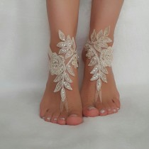 wedding photo - champagne beach wedding bridal accessories lace anklets bridal jewelry beaded scaly pearls bridesmaid gifts bridal shoes barefoot sandals