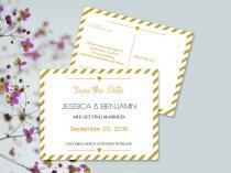 wedding photo - Save the Date Postcard Templates - Gold Carnival Stripes Printable Wedding Save the Dates - 5.5 x 4.25 Editable PDF - DIY You Print