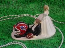 wedding photo - Buffalo Bills Football Lover Groom Wedding Cake Topper- NFL Funny Sports Fan Custom Personalized Weddings Decorations