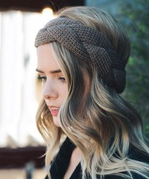 wedding photo - Mocha Braided Knit Headband