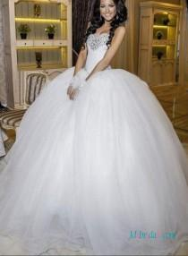 wedding photo - Fairytale sweetheat white princess tulle ball gown wedding dress