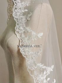 wedding photo - Custom Bridal Veil, Vintage Inspired Rose Alencon Lace Veil, Mantilla Style or with Blusher. Fingertip, Waltz, Chapel, Cathedral Veil