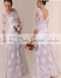 wedding photo - Lace Plus Size /Vneck bаck /long wedding party/reception dress / Bridal Gown 3/4 sleeve