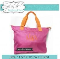 wedding photo - 8 Monogrammed Zippered Tote Bags Personalized Wedding Tote Neon Bag