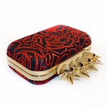 wedding photo - Silk Clutch Box, Evening Bag, Purse Spikey Knuckleduster Punk Black & Red Rose Chinese brocade 'McQueen' *handmade *gift *birthday *wedding