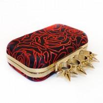wedding photo - Silk Clutch Box, Evening Bag, Purse Spikey Knuckleduster Punk Black & Red Rose Chinese brocade 'McQueen' *handmade *gift *birthday *wedding