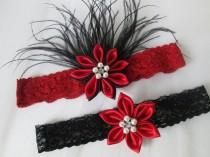 wedding photo - Black & Red Wedding Garter Set, Red Lace PROM Garters, Black Lace Bridal Garter w/ Red Kanzashi Flower, Feathers, Flapper / 20s Bride