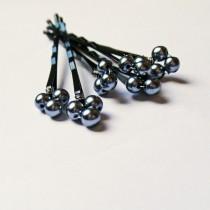 wedding photo - Black Pearl Hair Pins (wedding set of 6) Dark Gray Grey Swarovski Triple Pearl Hair Jewelry bobby pins