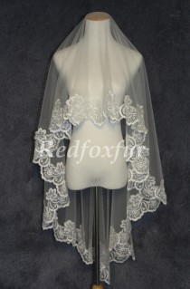 wedding photo - Lace veil Bridal Veil Alencon lace veil 1.5m Ivory or white 1T Chapel veil Wedding dress veil Wedding Accessories No comb