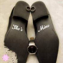 wedding photo - Groom Shoes Decal - She's Mine -  Wedding Shoes Sticker Wedding Decal Wedding Sticker Groom Shoes Decal