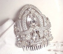 wedding photo - 20s Great Gatsby Wedding Hair Comb, Bridal HairPiece Art Deco Silver Rhinestone Dress Clip Vintage/Antique Headpiece 1920 haircomb Edwardian