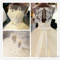 wedding photo -  Organza Appliques Floor-Length Ball Gown Illusion Wedding Dress Chapel Train Zipper Beaded Crystal Bridal Gown Custom Made Lace Wedding Dresses Mermaid Wedding Dress 2017 Wedding Dresses Online with 177.15/Piece on Hjklp88's Store