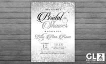 wedding photo - Silver Bridal Shower Invitation. Silver Sparkle Glitter Diamond Ring Digital Download Bridal Invitation